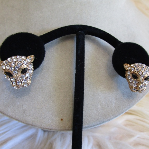 3df319280 Unsigned Jewelry | Rhinestone Encrusted Panther Pierced Earrings ...